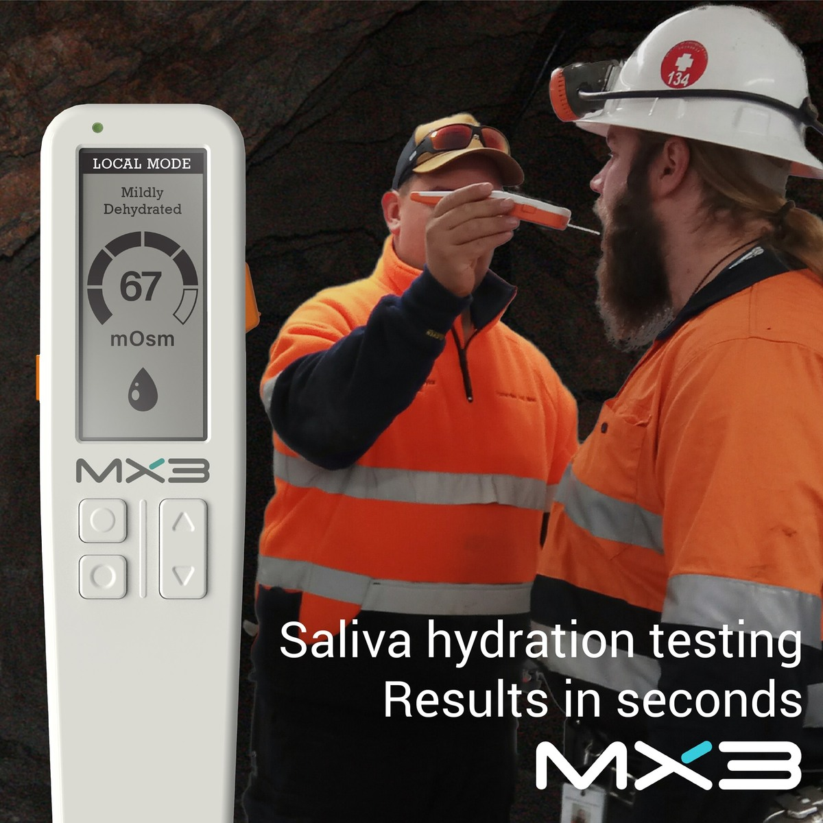 Saliva hydration testing. Results in seconds.