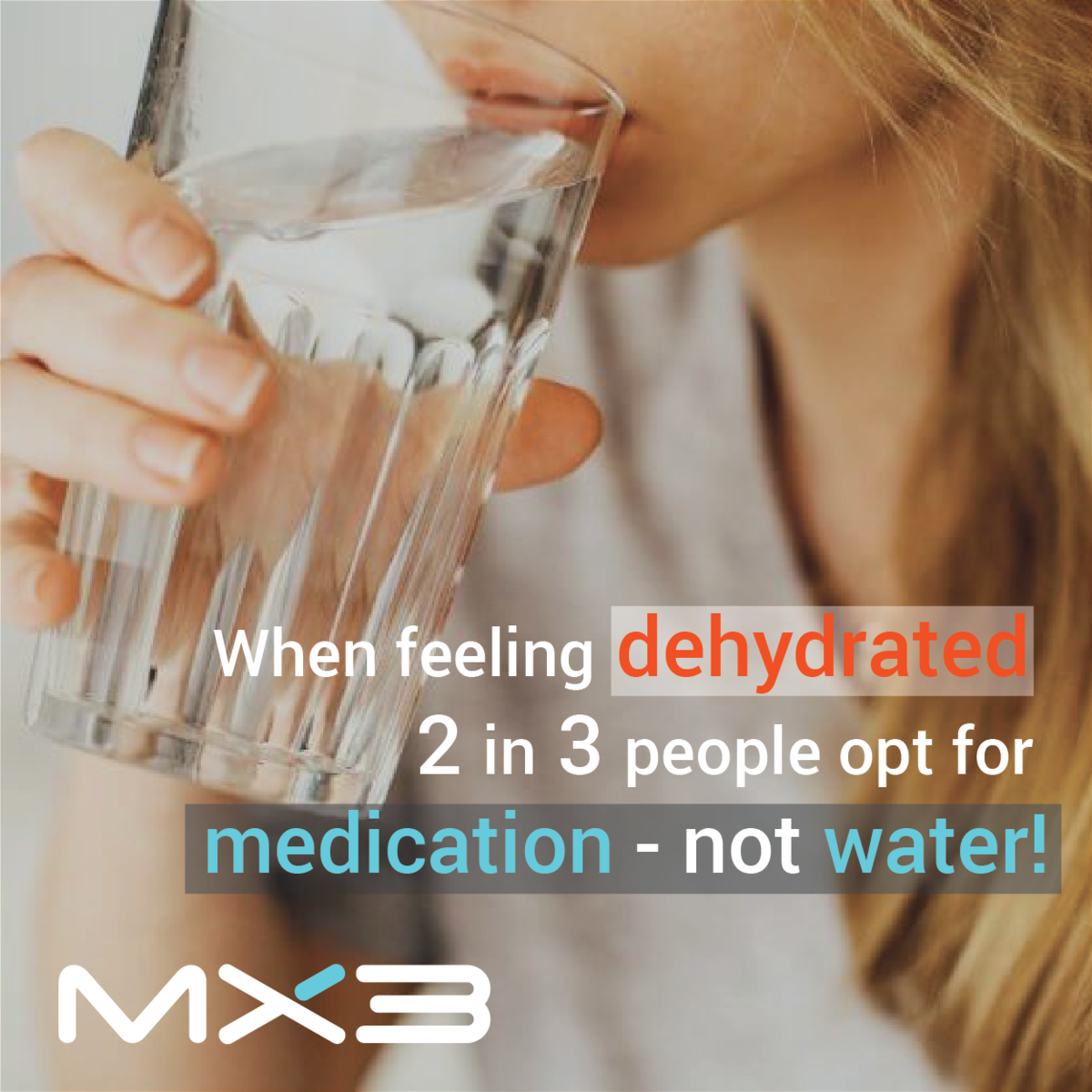 When feeling dehydrated, 2 in 3 people opt for medication
